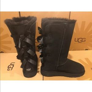 New UGG Bailey Bow Tall Black Sheepskin Suede Boot